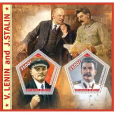 Postage stamps Vladimir Lenin and Joseph Stalin.