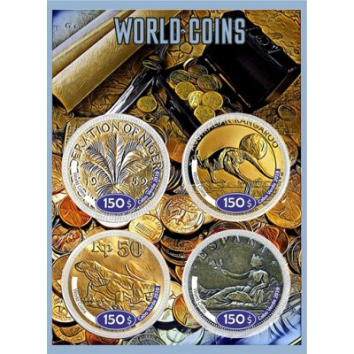 Coins on stamps World coins
