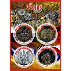 Coins on stamps